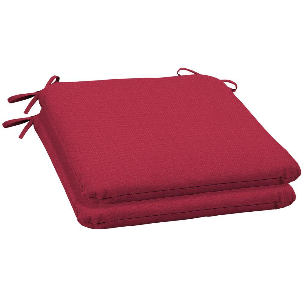 Arden Chili Red Solid Outdoor Seat Pad (2-Pack)-DISCONTINUED