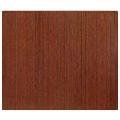 Standard Dark Brown Mahogany 48 in. x 60 in. Bamboo Roll-Up Office Chair Mat without Lip