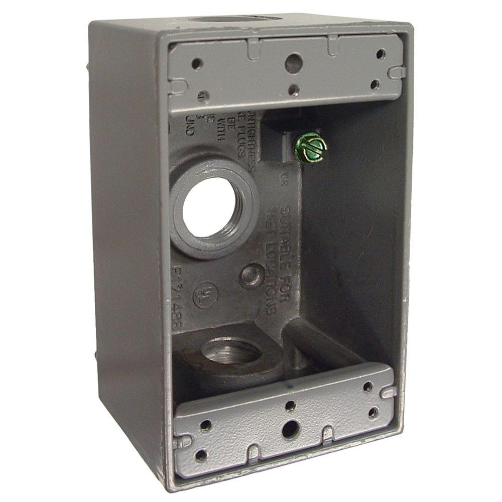 1-Gang Weatherproof Box with Three 1/2 in. Outlets