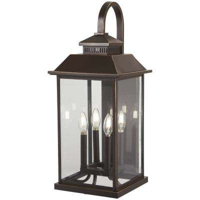 Miner's Loft 4-Light Oil Rubbed Bronze with Gold Highlights Outdoor Wall Lantern Sconce