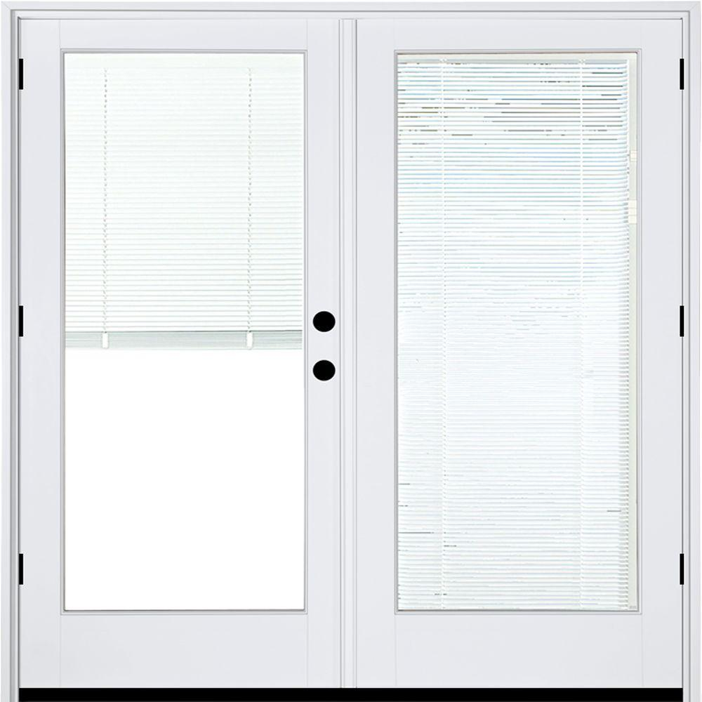 Mp Doors 60 In X 80 In Fiberglass Smooth White Left Hand Outswing Hinged Patio Door With Low E