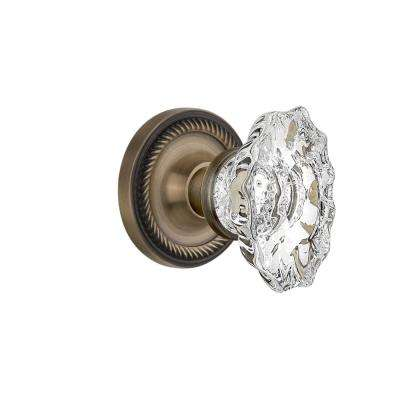 Rope Rosette 2-3/4 in. Backset Antique Brass Privacy Chateau Door Knob