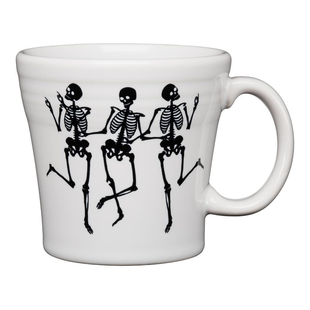 Fiesta Fiesta White Trio of Skeletons 15 oz. Ceramic Tapered Mug