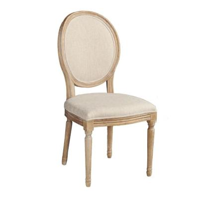 Brown and Beige Wooden Chair with Fabric Upholstered Seating (Set of 2)
