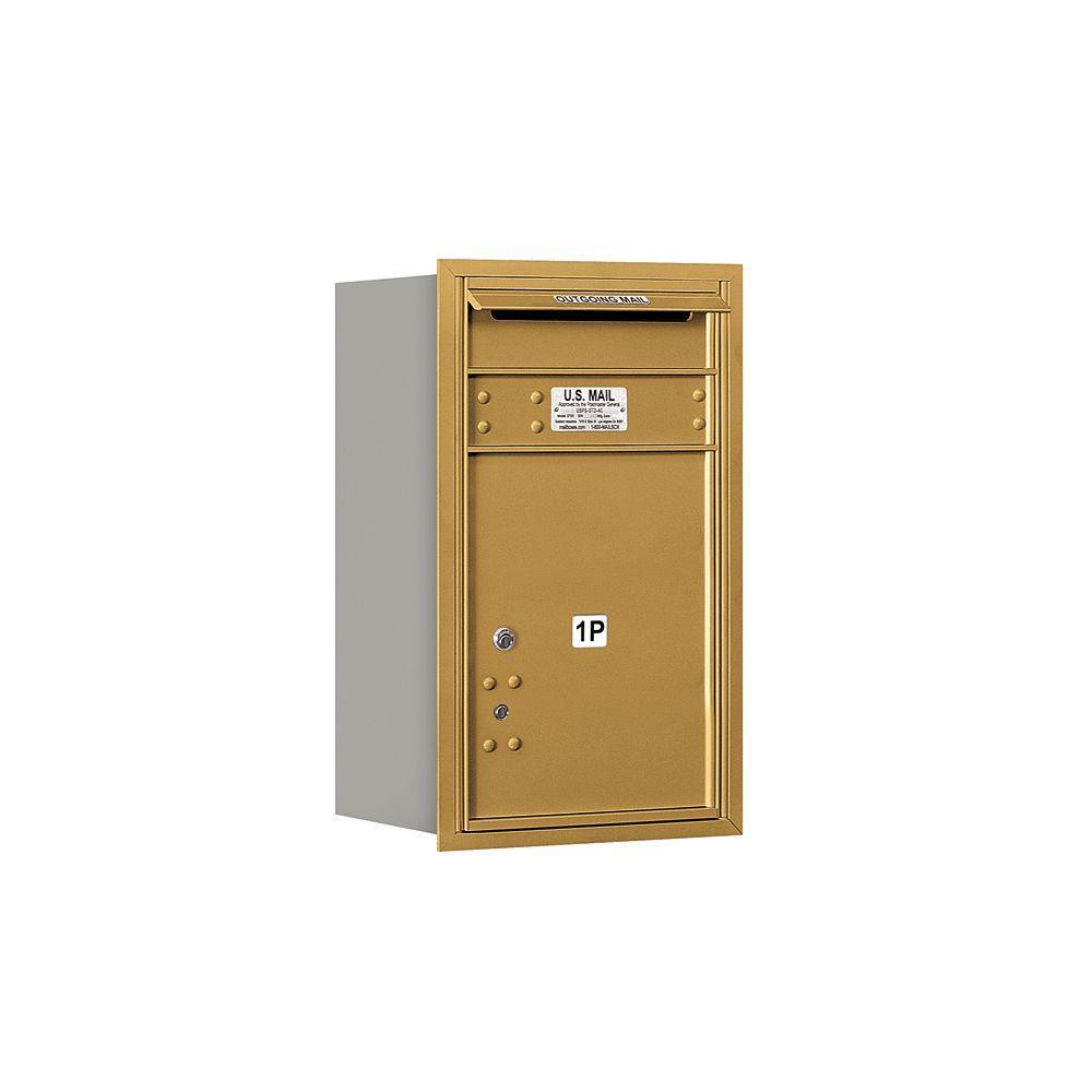 3700 Series 27 in. 7 Door High Unit Parcel Locker 1 PL5 4C USPS Rear Loading Horizontal Mailbox in Gold