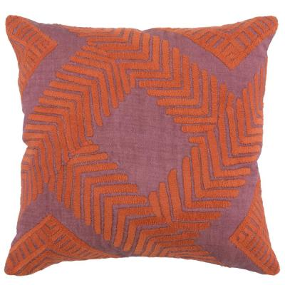 Marly Berry / Orange 22 in. x 22 in. Linen Embroidery Decorative Pillow