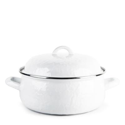 Enamelware 4 qt. Round Porcelain-Coated Steel Dutch Oven in Solid White with Lid