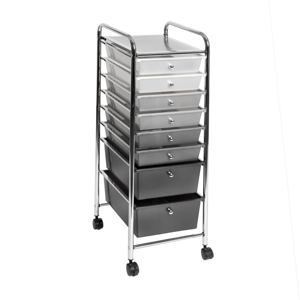 Beau Seville Classics 8 Drawer Polypropylene Wheeled Storage Bin Organizer Cart  In White/Gray/