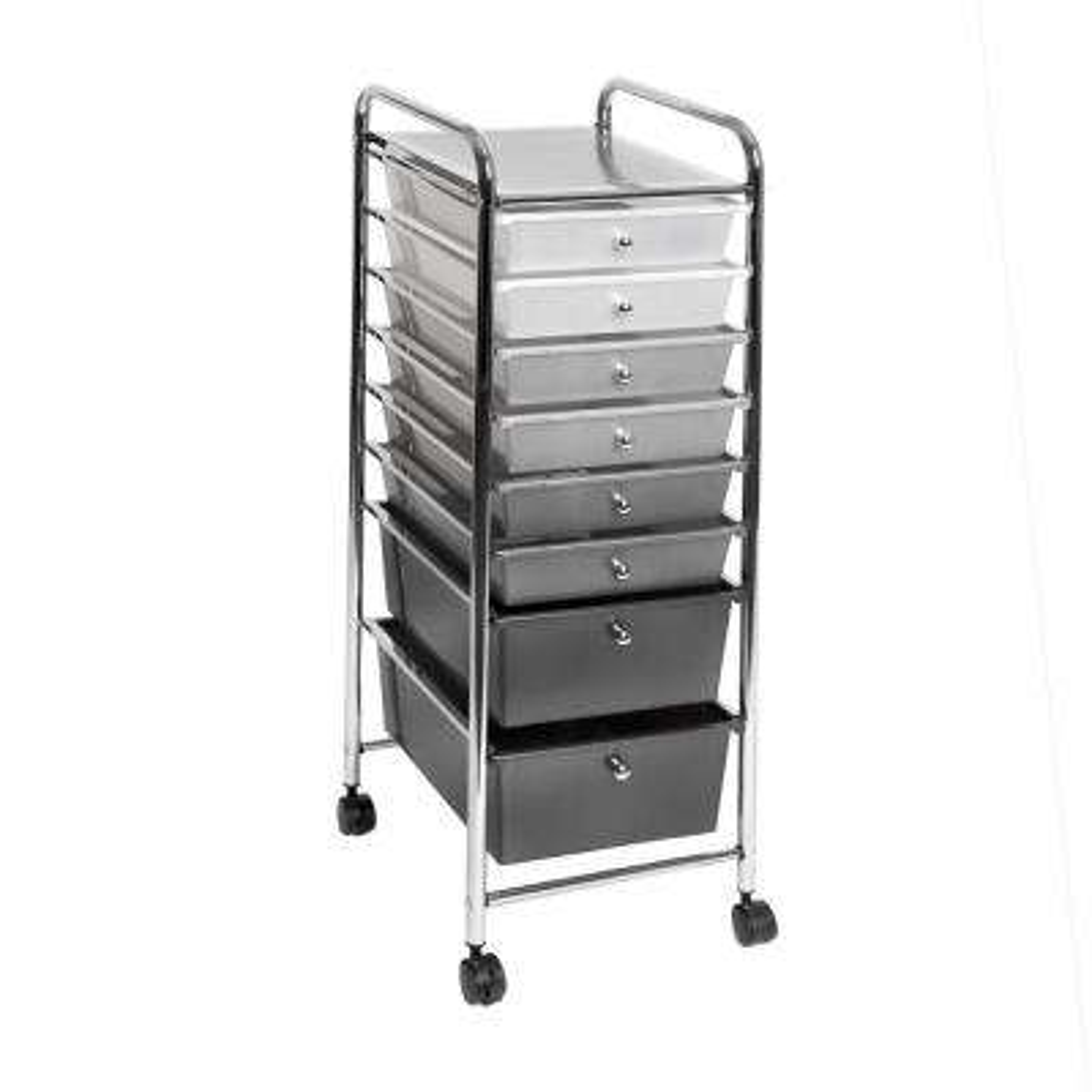 8-Drawer Polypropylene Wheeled Storage Bin Organizer Cart in White/Gray/Black Gradient