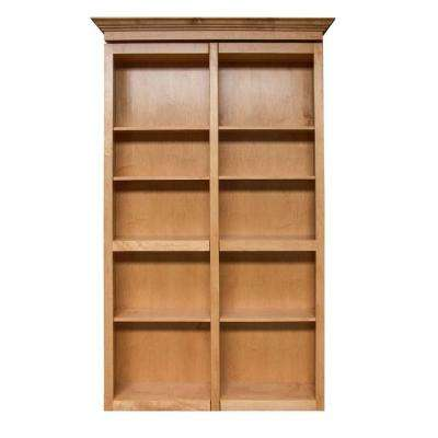 Unfinished Cherry 6-Shelf Bookcase Bi-fold Door
