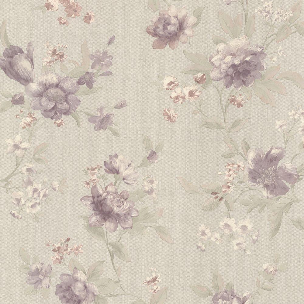 Mirage 56 sq. ft. Empress Mauve Floral Trail Wallpaper