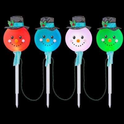 Color Changing Snowman Pathway Stakes (Set of 4) - LightShow - Christmas Path Lights & Yard Stakes - Outdoor Christmas