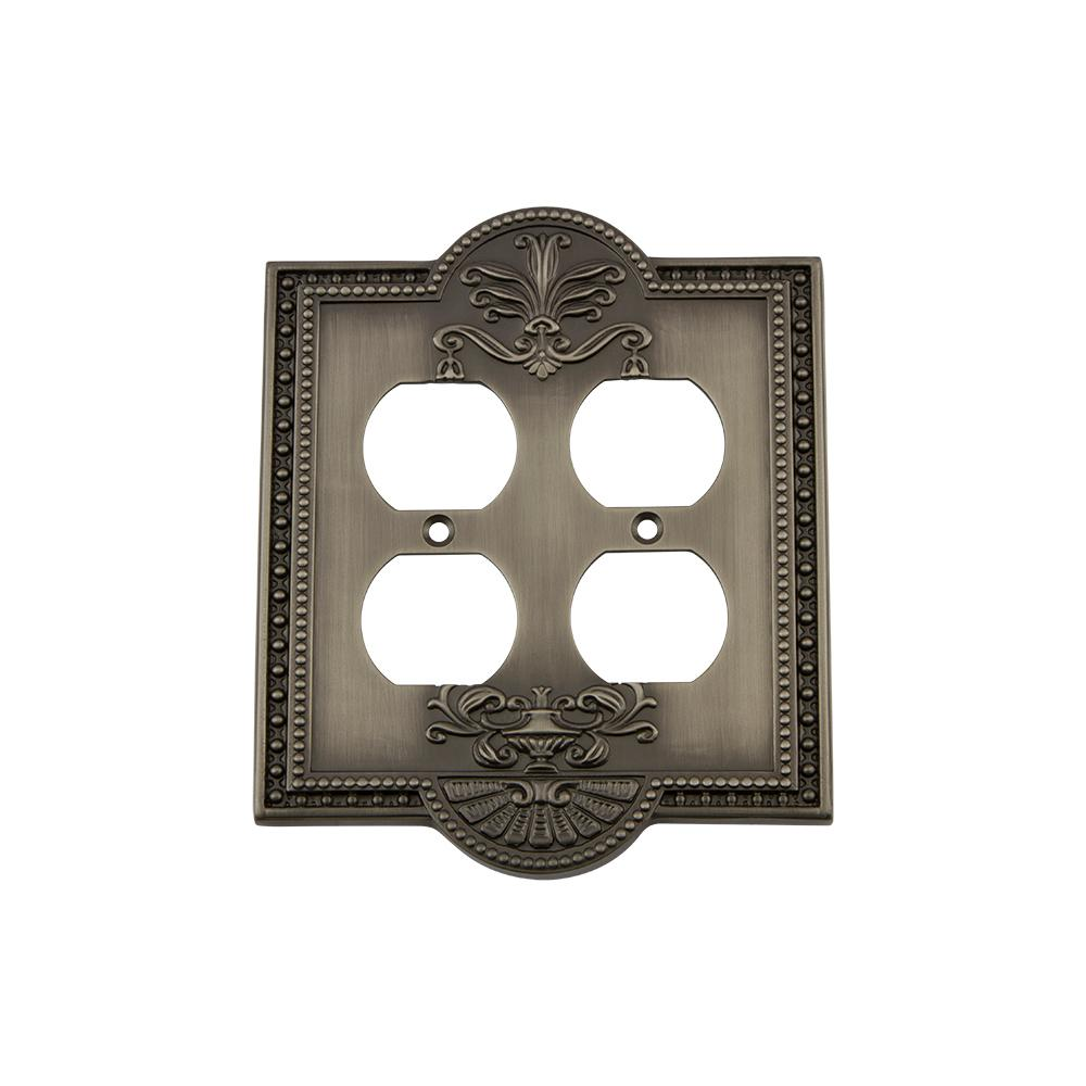 Meadows Switch Plate with Double Outlet in Antique Pewter