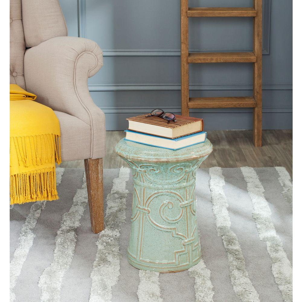 Imperial Scroll Reactive Aqua  Ceramic Garden Stool