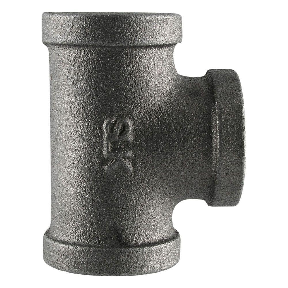 Pipe Decor 1/2 in. Black Iron FPT x FPT Tee (2-Pack)
