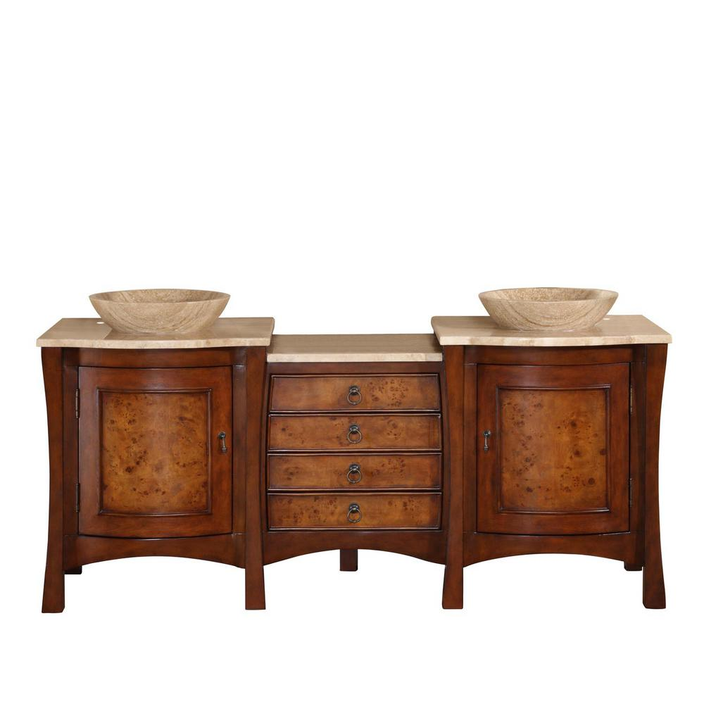 Silkroad Exclusive 72 In W X 22 D Vanity Red Chestnut With Stone Top Travertine Vessel Basin