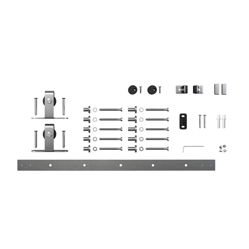 6 ft. Stainless Steel Mini Sliding Rolling Barn Door Hardware Kit