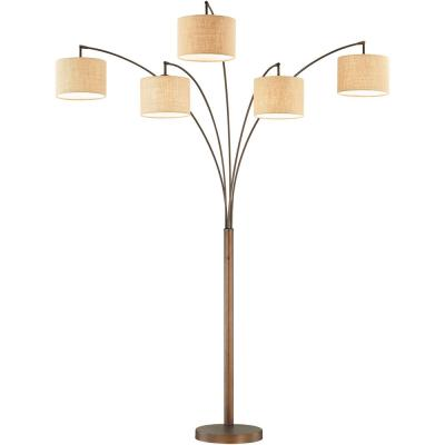 Lucianna 83 in. Antique Bronze 5-Arc LED Floor Lamp with Dimmer