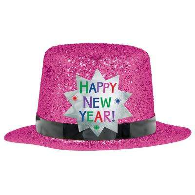 New Year's 2 in. Bright Pink Glitter Mini Top Hat (6-Pack)