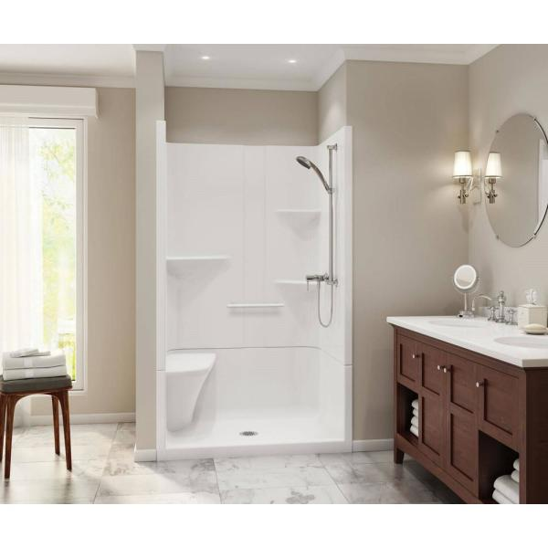 Maax Camelia 48 In X 34 In X 79 In Alcove Shower Stall With Center Drain Base And Left Hand Seat In White 105919 000 001 004 The Home Depot