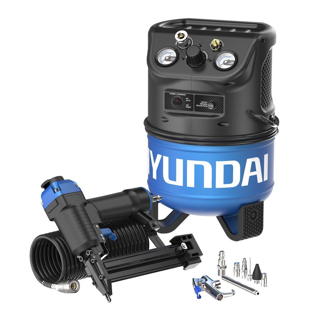 Hyundai 2 gal. Portable Electric Air Compressor with 2-in-1 Brad Nailer/Stapler Combo Kit by Hyundai
