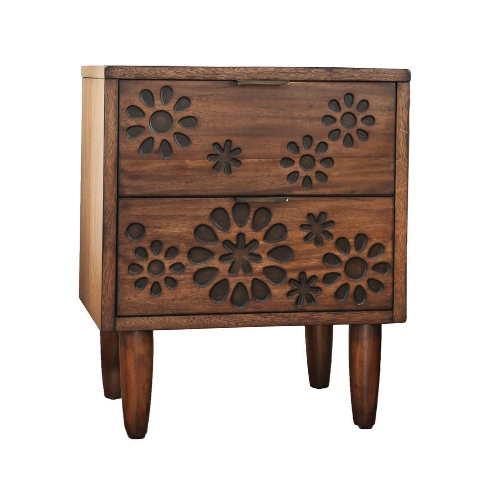 Furniture of America Chelsea 2-Drawer Dark Oak Nightstand IDF-7362N