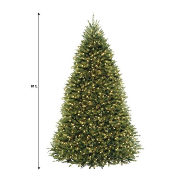 Home Accents Holiday 10 Ft Dunhill Fir Pre Lit Artificial Christmas Tree With 1200 Clear Mini Lights Duh3 100lo S The Home Depot
