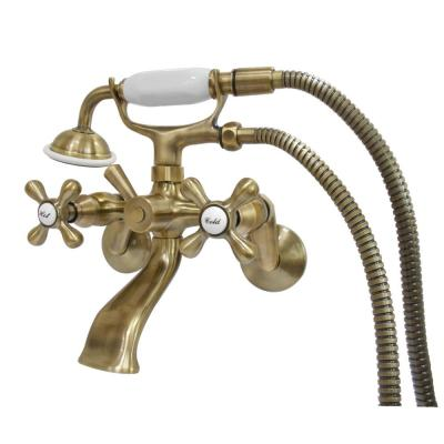 Wall-Mount Adjustable Centers 3-Handle Claw Foot Tub Faucet with Handshower in Antique Brass