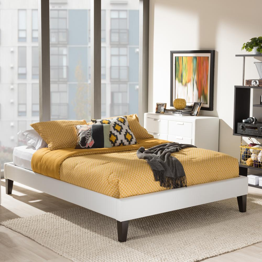 Baxton Studio Lancashire Queen Faux Leather Upholstered Bed