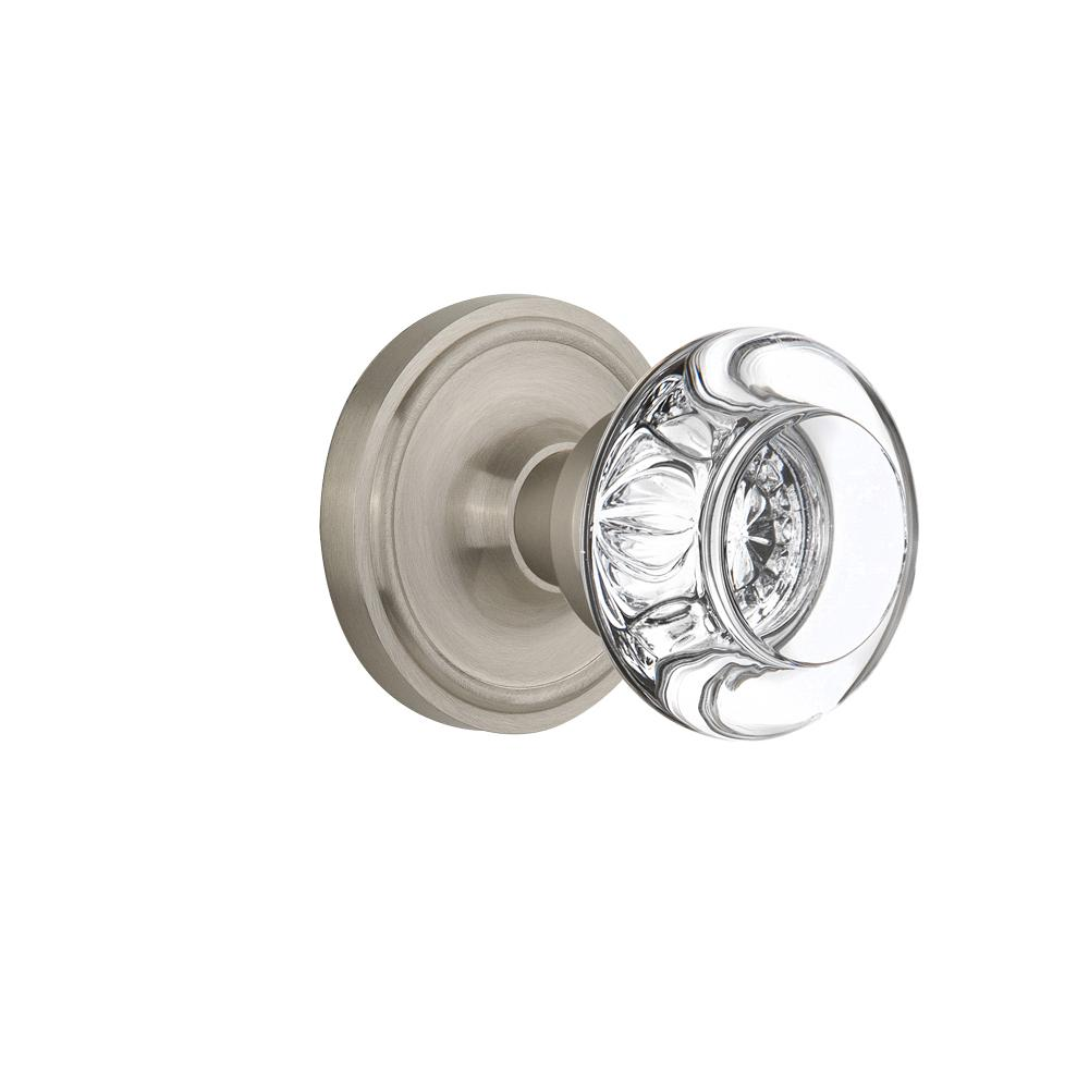 Attractive Nostalgic Warehouse Classic Rosette Double Dummy Round Clear Crystal Glass  Door Knob In Satin Nickel