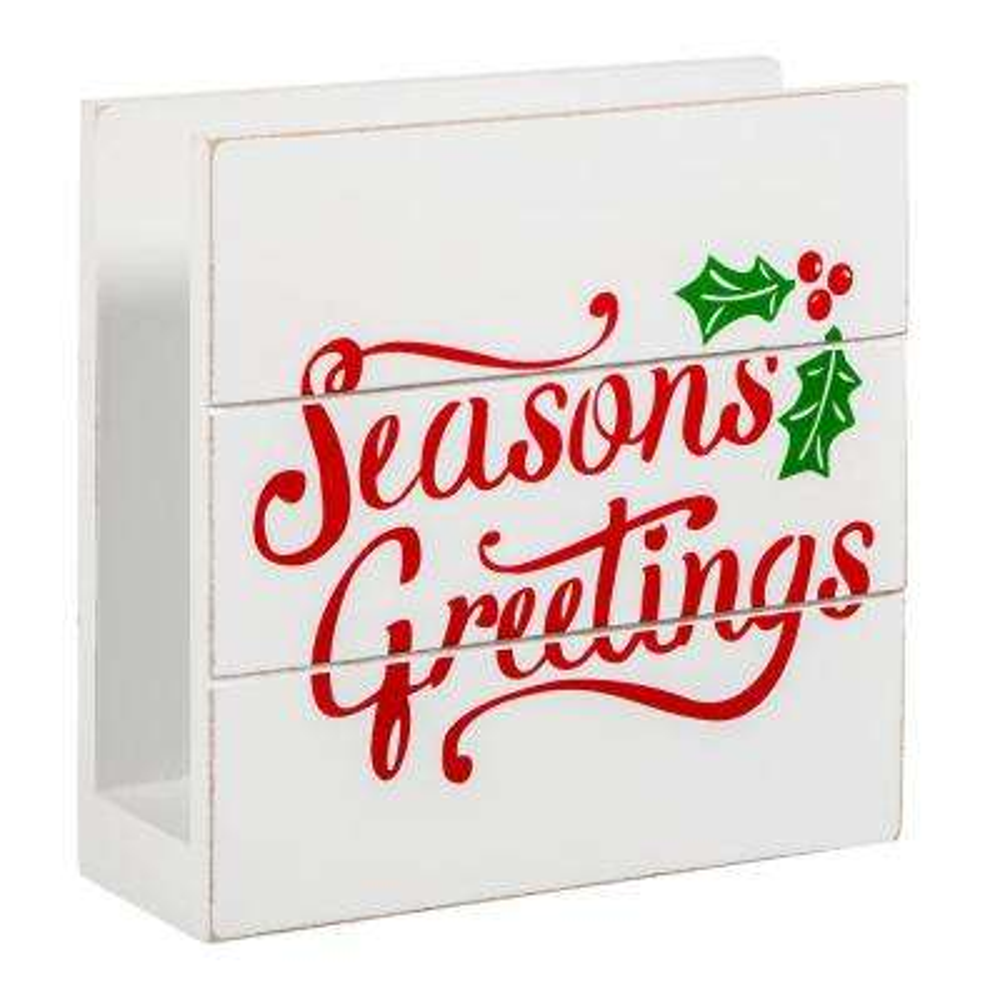 6 in. L Seasons Greetings Wooden Napkin Holder