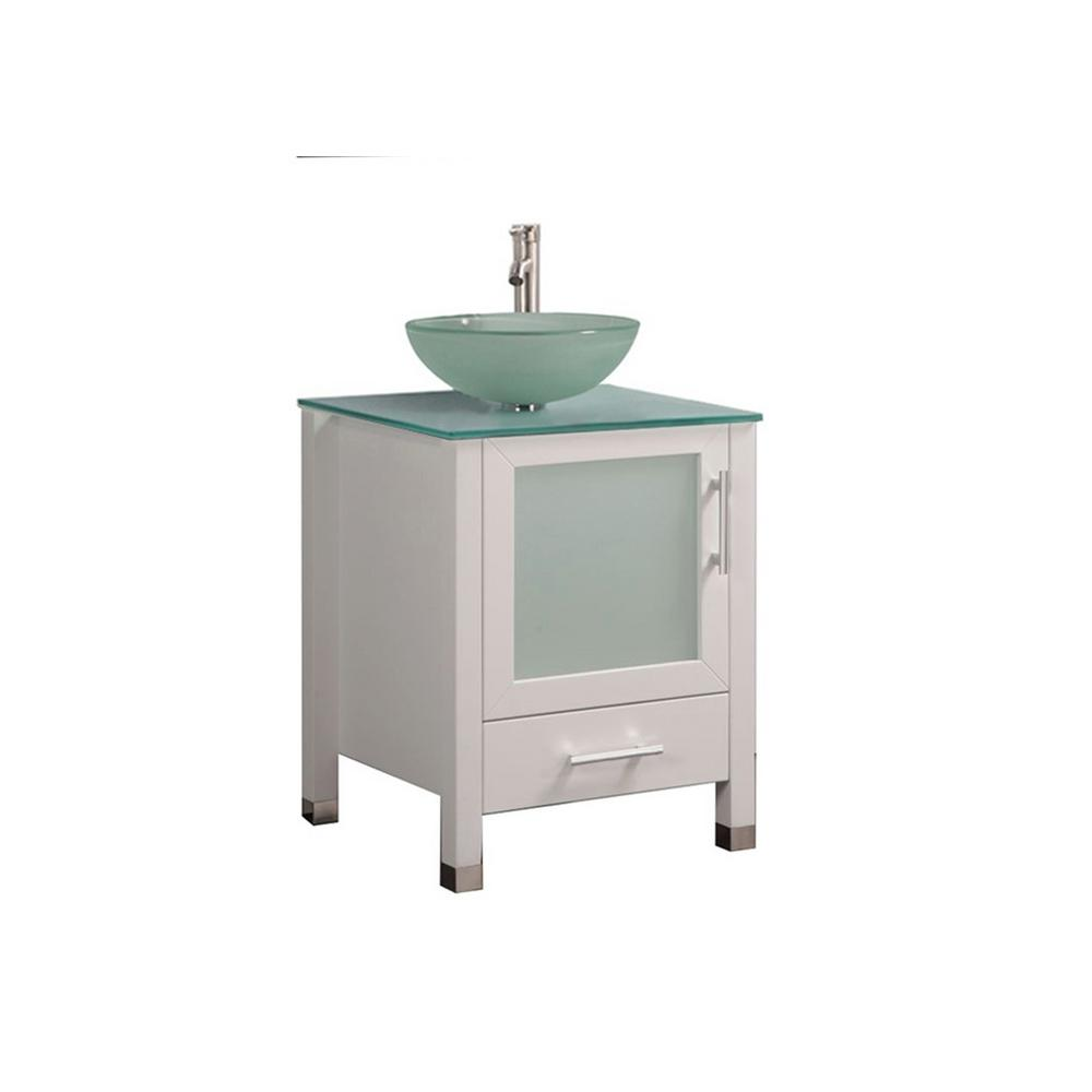 MTD Vanities Caen 24 in. W x 20 in. D x 36 in. H Bath Vanity in White with Aqua Tempered Glass Vanity Top with Frosted Glass Basin