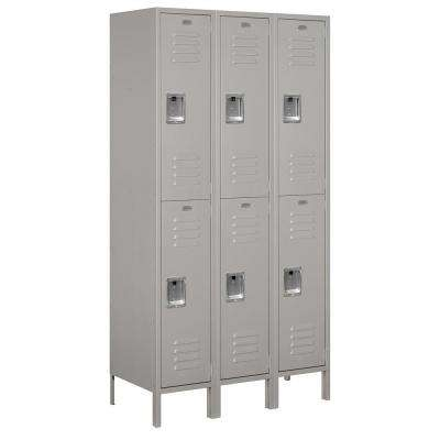 52000 Series 45 in. W x 78 in. H x 18 in. D Double Tier Extra Wide Metal Locker Unassembled in Gray