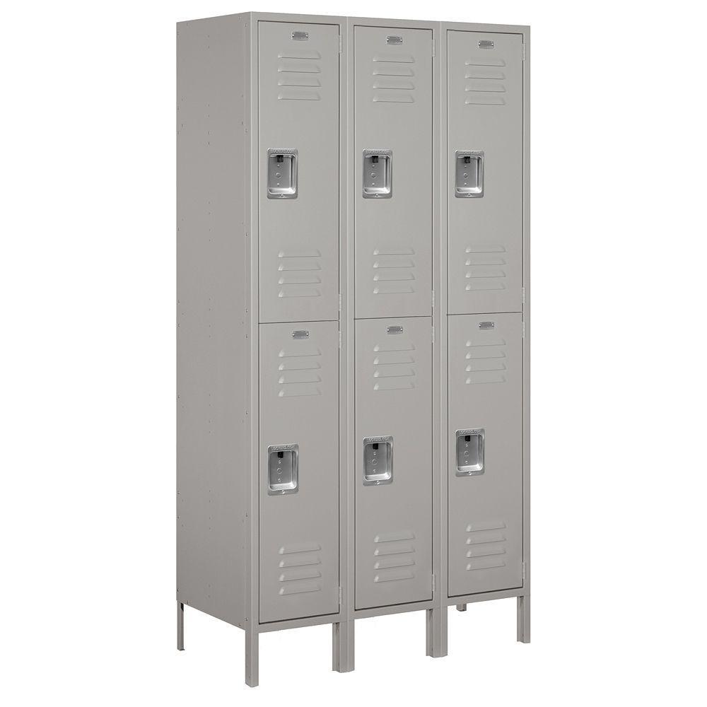 52000 Series 45 in. W x 78 in. H x 18 in. D Double Tier Extra Wide Metal Locker Unassembled in Gray