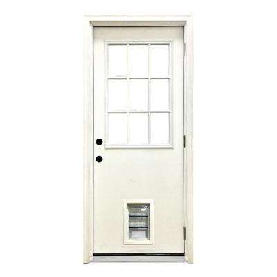 32 in. x 80 in. Classic Clear 9 Lite LHOS White Primed Fiberglass Prehung Front Door with Med Pet Door