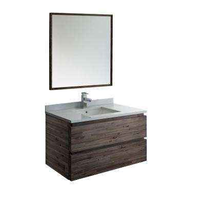 Formosa 36 in. Modern Wall Hung Vanity in Warm Gray with Quartz Stone Vanity Top in White with White Basin and Mirror
