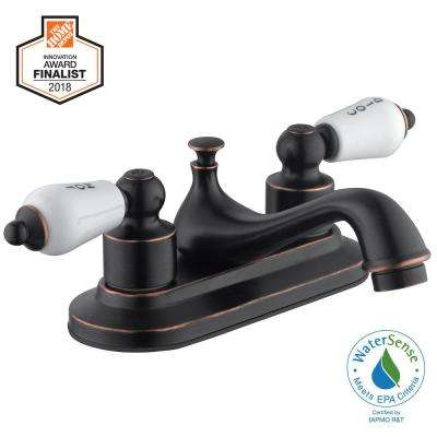 Teapot 4 in. Centerset 2-Handle Low-Arc Bathroom Faucet in Bronze