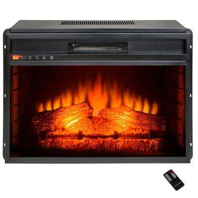 34 in. Freestanding Electric Fireplace Insert Heater in Black with Flat Tempered Glass and Remote Control