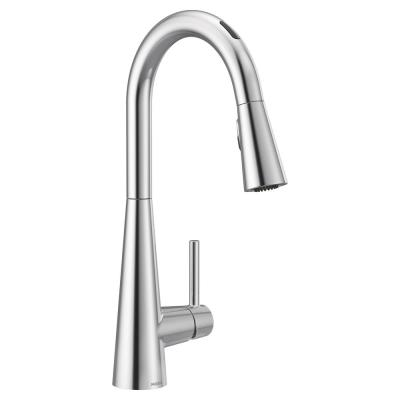 U by Moen Sleek Single-Handle Pull-Down Sprayer Smart Kitchen Faucet with Voice Control and Power Clean in Chrome