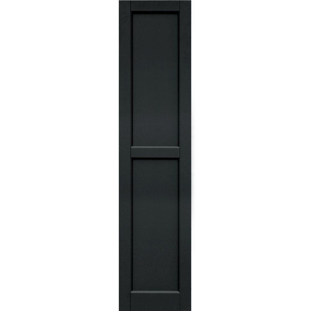 Winworks Wood Composite 15 in. x 65 in. Contemporary Flat Panel Shutters Pair #632 Black