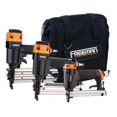 Pneumatic 18-Gauge and 22-Gauge Corded 3-Piece Brad Nailer, Stapler and Upholstery Kit with Fasteners and Bag