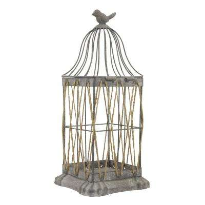 14 in. Iron Vintage Zinc Bird Cage Lantern