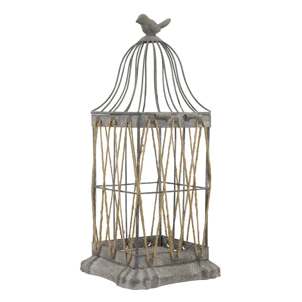 14 in. Iron Vintage Zinc Bird Cage Lantern