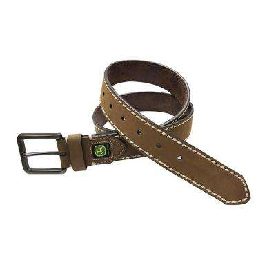 Men's Size 34 Dark Brown Triple Stitched Genuine Leather Belt