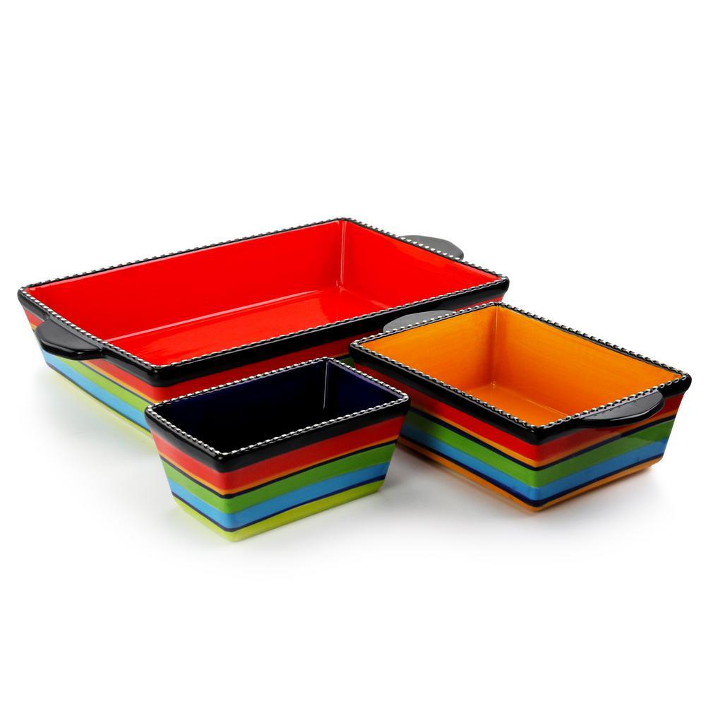 Pueblo Springs 3-Piece Stoneware Bright Color Bakeware Set