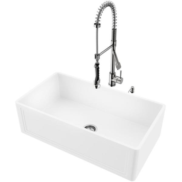 Vigo All In One 33 In Crown Matte Stone Farmhouse Single Bowl Kitchen Sink Set With Faucet In Stainless Steel Strainer Vg15941 The Home Depot