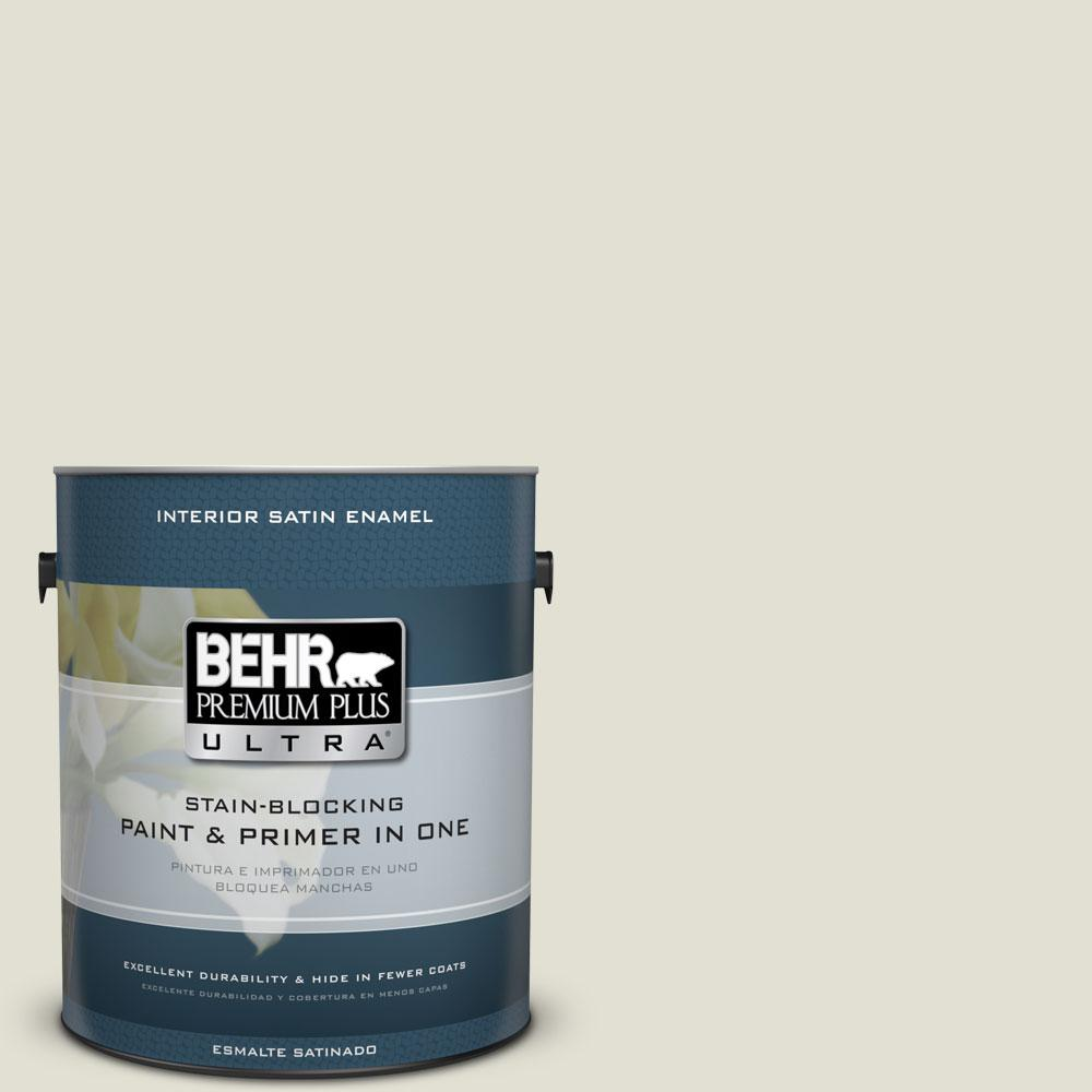 BEHR Premium Plus Ultra 1-gal. #400E-2 Turtle Dove Satin Enamel Interior Paint