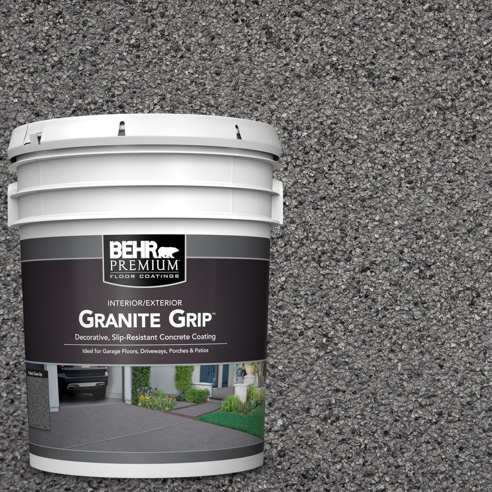 BEHR Premium 5 Gal. Gray Granite Grip Decorative Interior/Exterior Concrete Floor Coating