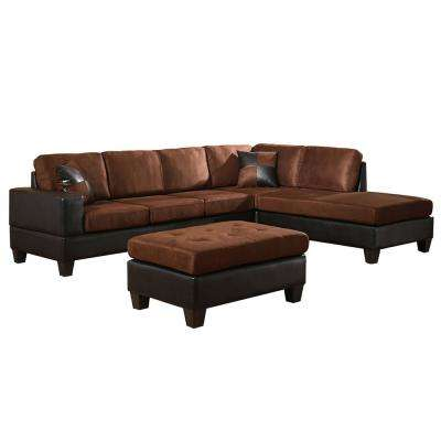 Dallin Chocolate Brown Microfiber Sectional