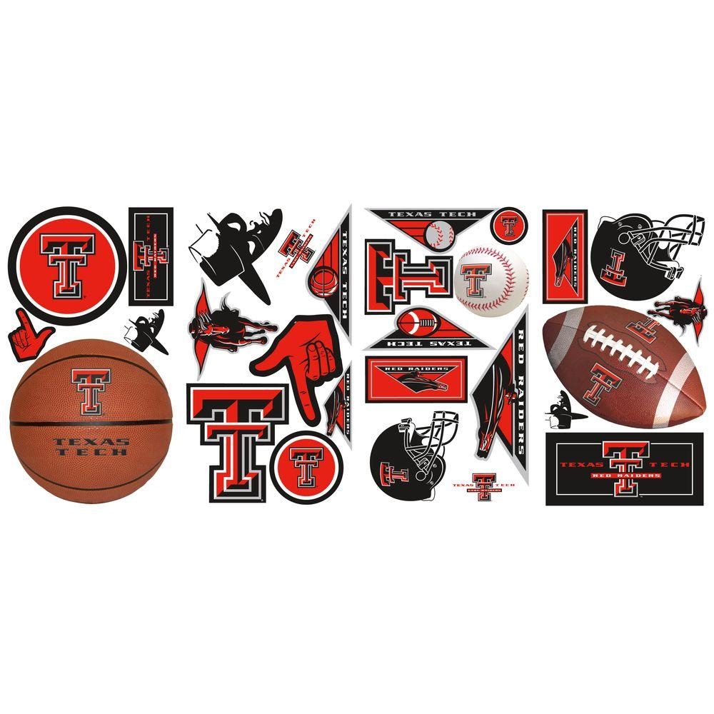 null 10 in. x 18 in. Texas Tech 28-Piece Peel and Stick Wall Decals-DISCONTINUED